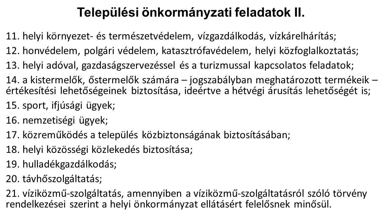Települési önkormányzati feladatok II.