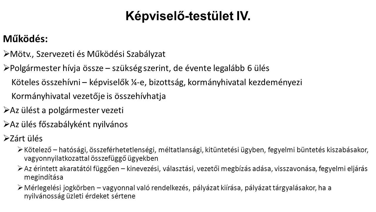 Képviselő-testület IV.