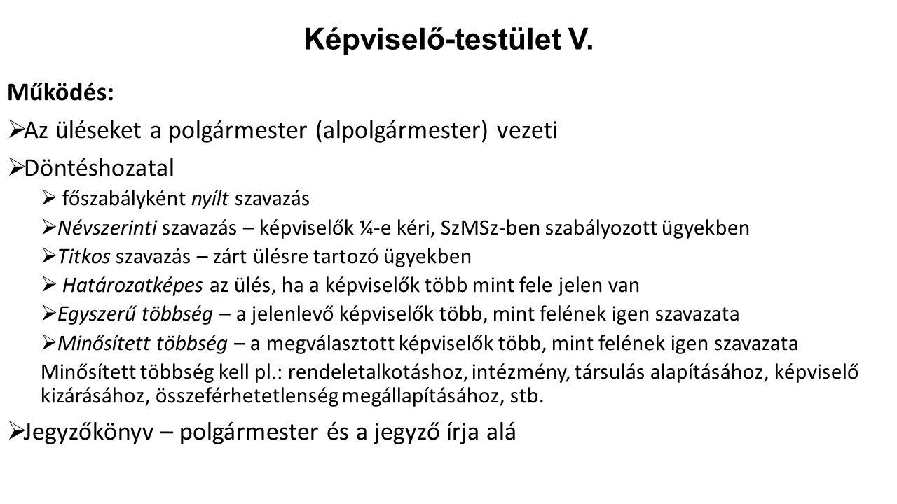 Képviselő-testület V. Működés: