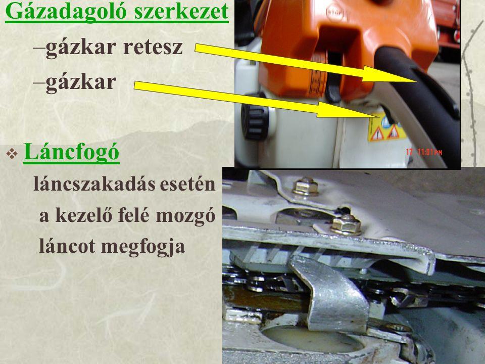 Gázadagoló szerkezet gázkar retesz gázkar Láncfogó láncszakadás esetén