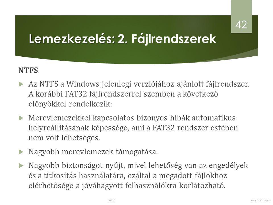 Lemezkezelés: 2. Fájlrendszerek
