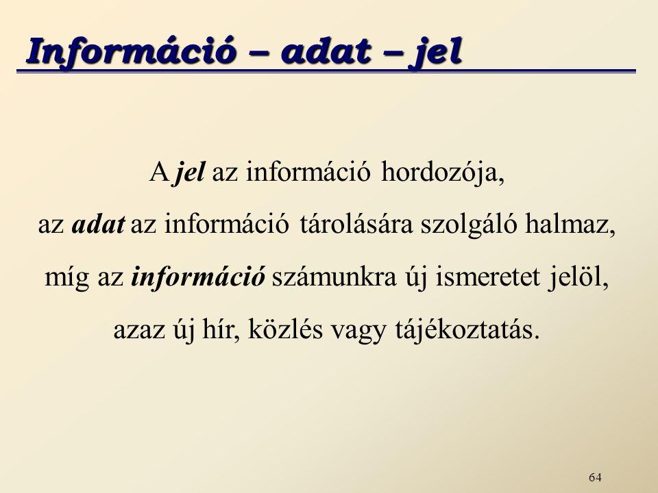 Információ – adat – jel A jel az információ hordozója,