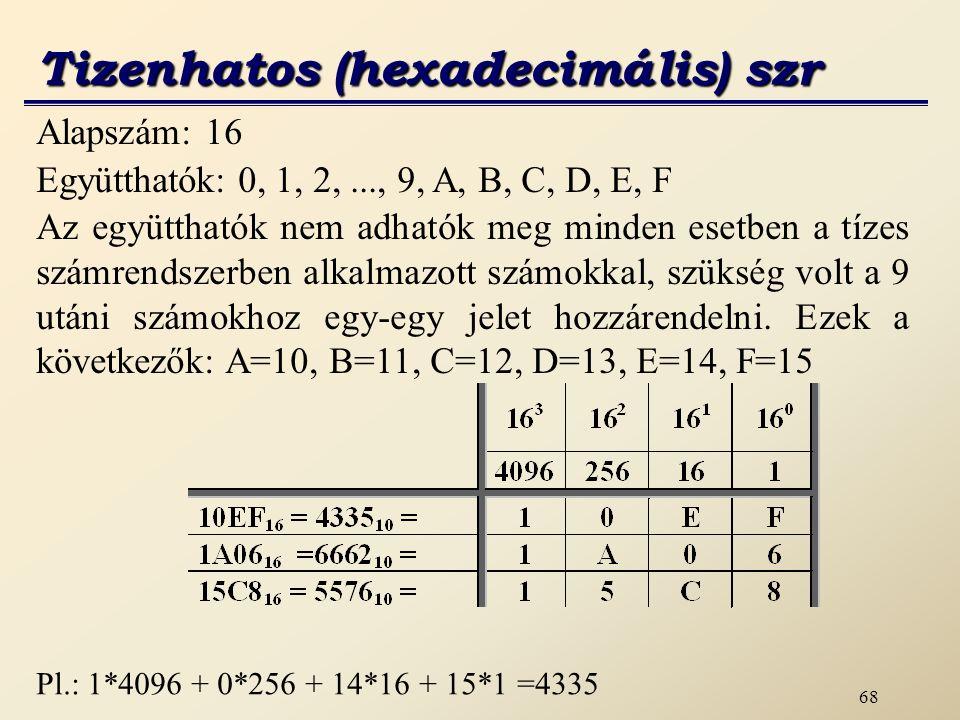 Tizenhatos (hexadecimális) szr