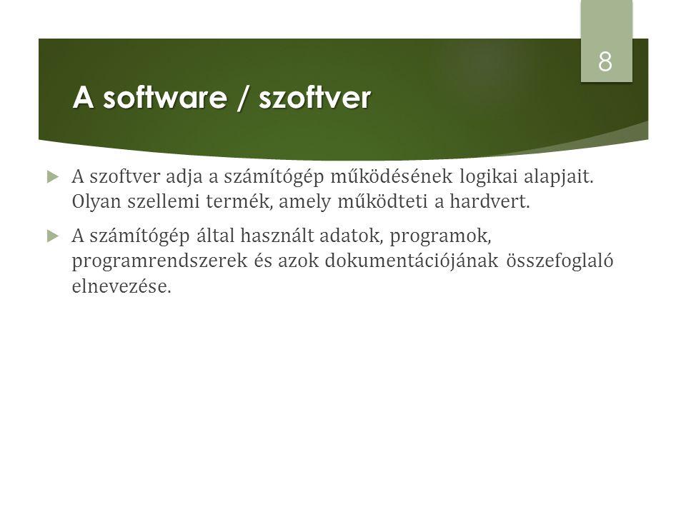 A software / szoftver A szoftver adja a számítógép működésének logikai alapjait. Olyan szellemi termék, amely működteti a hardvert.