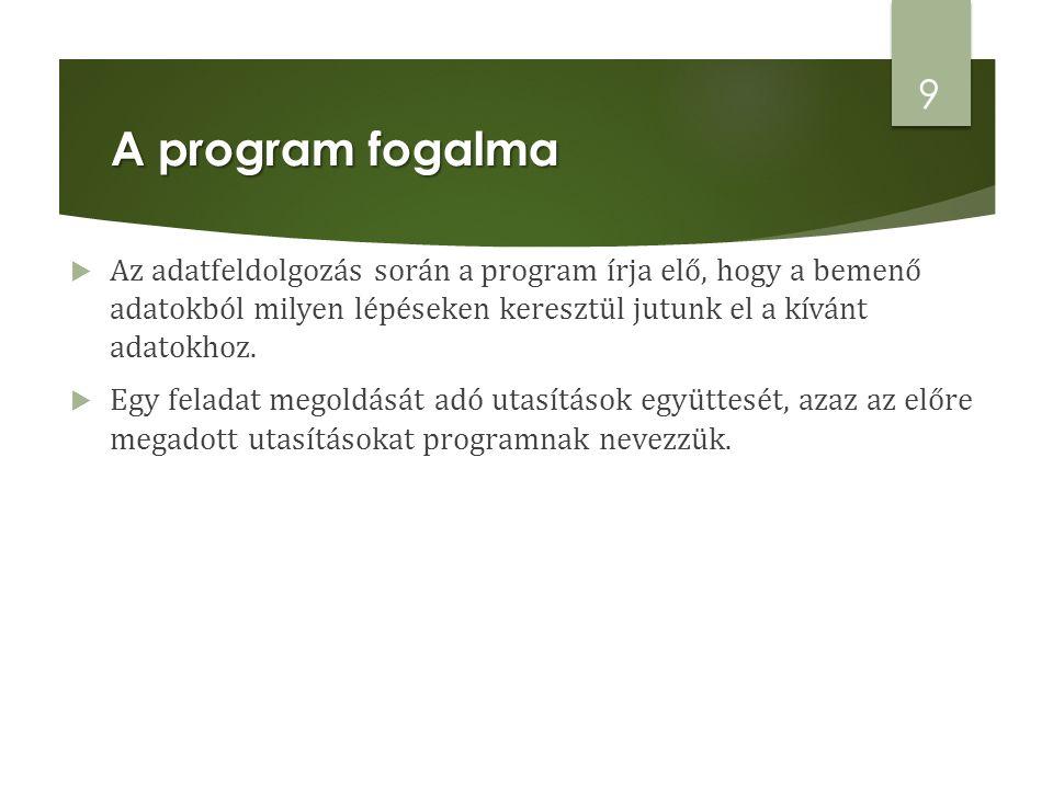 A program fogalma Az adatfeldolgozás során a program írja elő, hogy a bemenő adatokból milyen lépéseken keresztül jutunk el a kívánt adatokhoz.