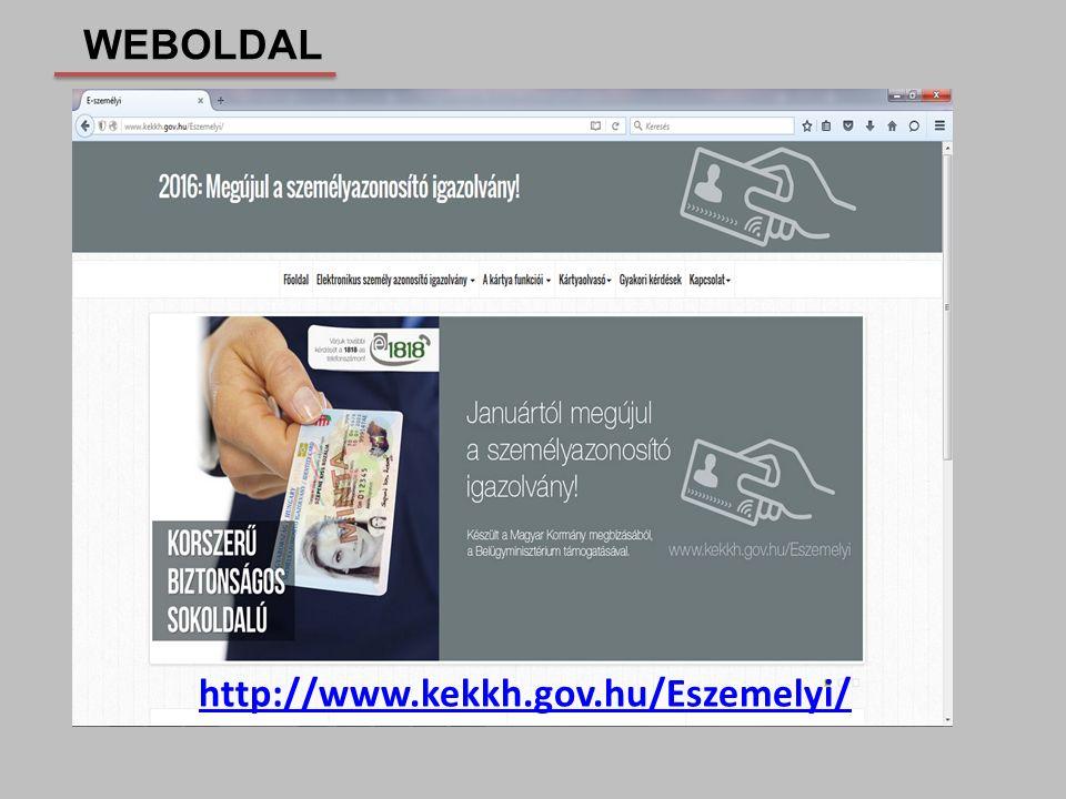 WEBOLDAL http://www.kekkh.gov.hu/Eszemelyi/