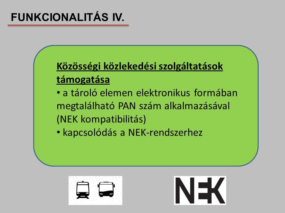 FUNKCIONALITÁS IV. Közösségi közlekedési szolgáltatások támogatása.