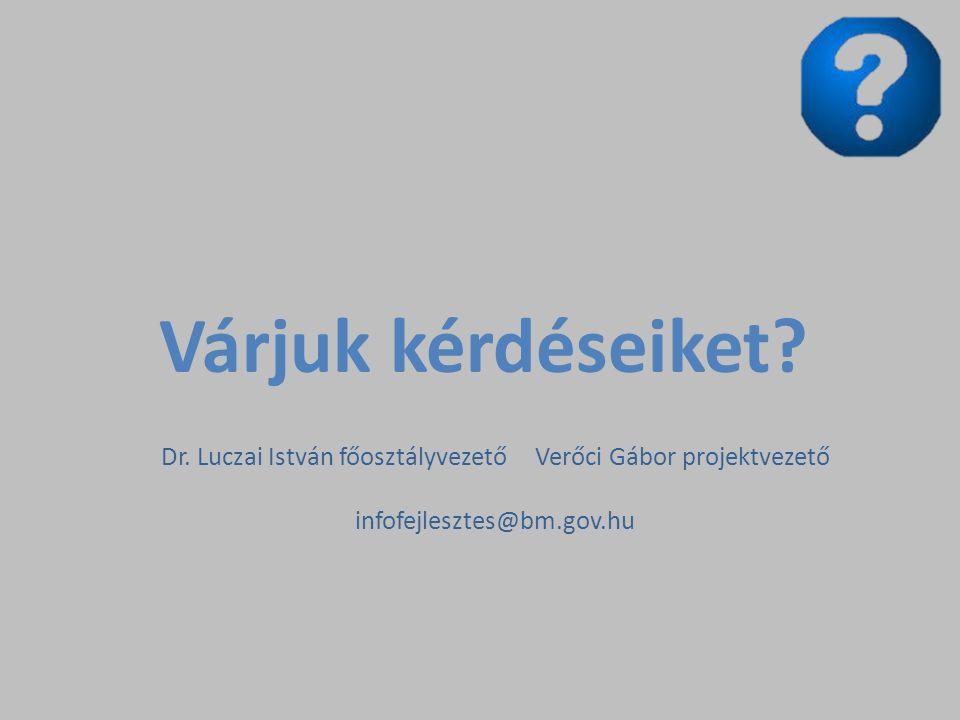 Dr. Luczai István főosztályvezető Verőci Gábor projektvezető