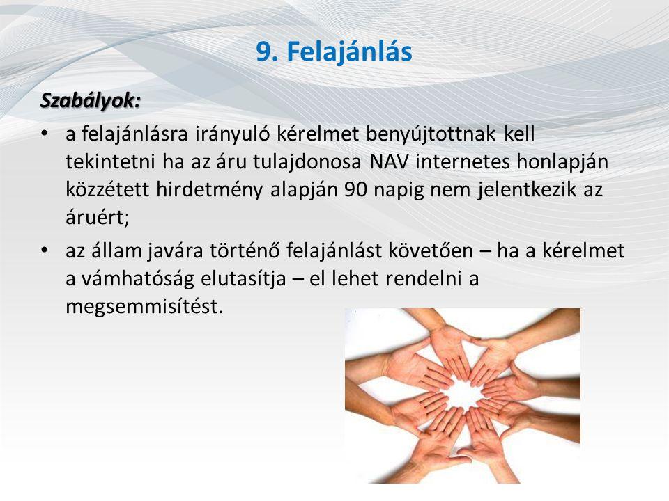 9. Felajánlás Szabályok:
