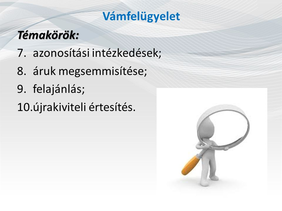 Vámfelügyelet Témakörök: azonosítási intézkedések;