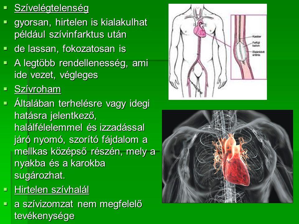 Szívelégtelenség gyorsan, hirtelen is kialakulhat például szívinfarktus után. de lassan, fokozatosan is.
