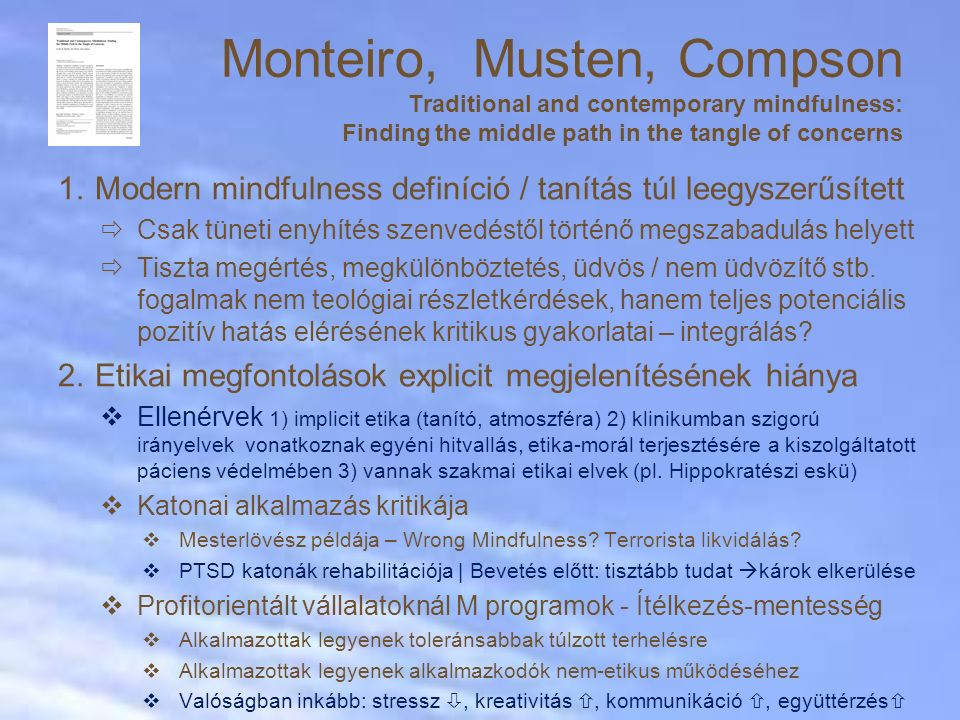 Monteiro, Musten, Compson Traditional and contemporary mindfulness: Finding the middle path in the tangle of concerns
