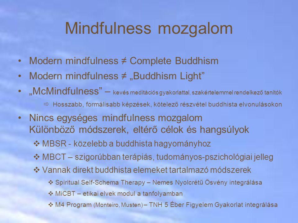 Mindfulness mozgalom Modern mindfulness ≠ Complete Buddhism