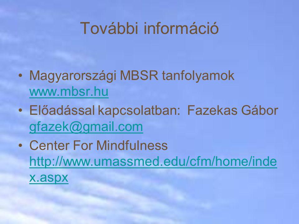 További információ Magyarországi MBSR tanfolyamok www.mbsr.hu