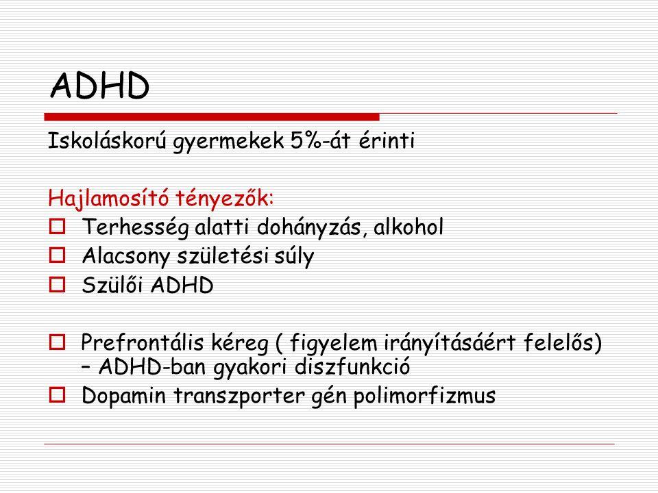 ADHD Iskoláskorú gyermekek 5%-át érinti Hajlamosító tényezők: