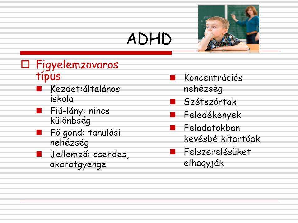 ADHD Figyelemzavaros típus Koncentrációs nehézség