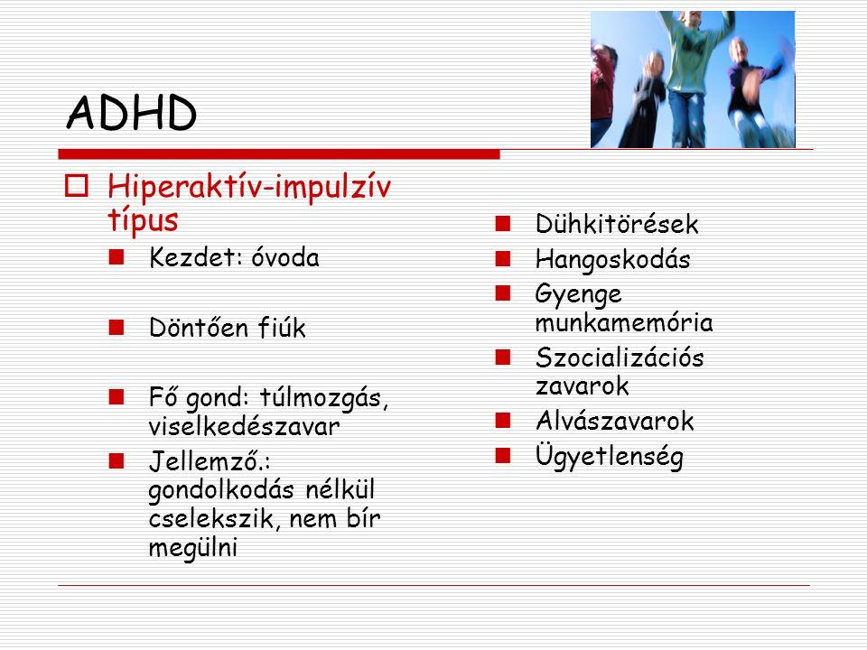 ADHD Hiperaktív-impulzív típus Dühkitörések Kezdet: óvoda Hangoskodás