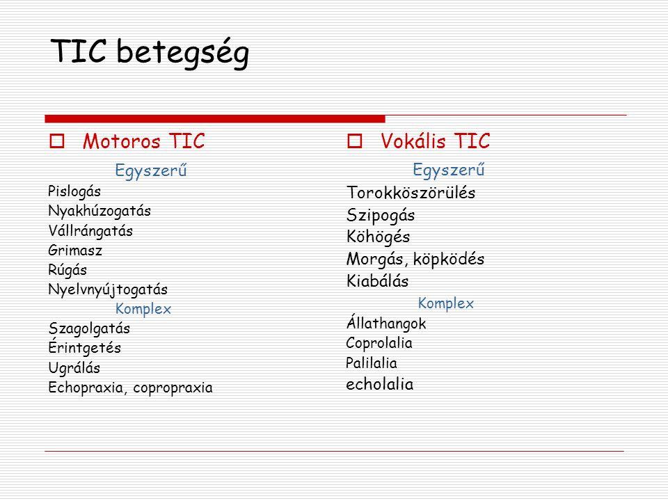 TIC betegség Motoros TIC Egyszerű Vokális TIC Egyszerű Torokköszörülés