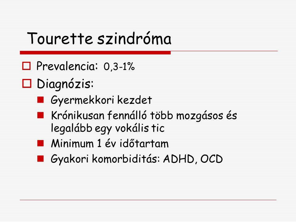 Tourette szindróma Diagnózis: Prevalencia: 0,3-1% Gyermekkori kezdet