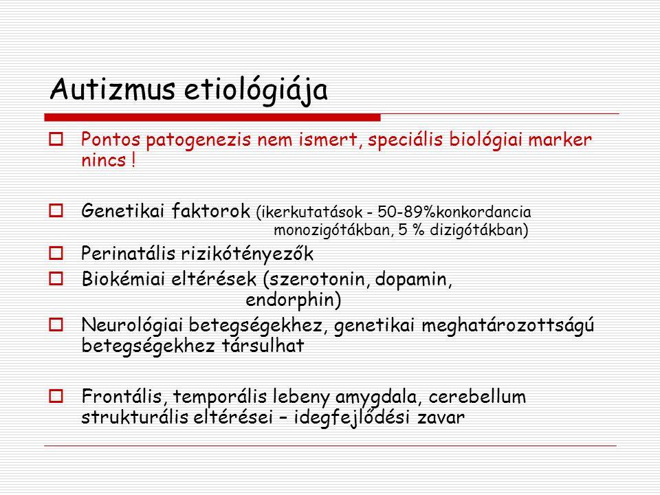 Autizmus etiológiája Pontos patogenezis nem ismert, speciális biológiai marker nincs !