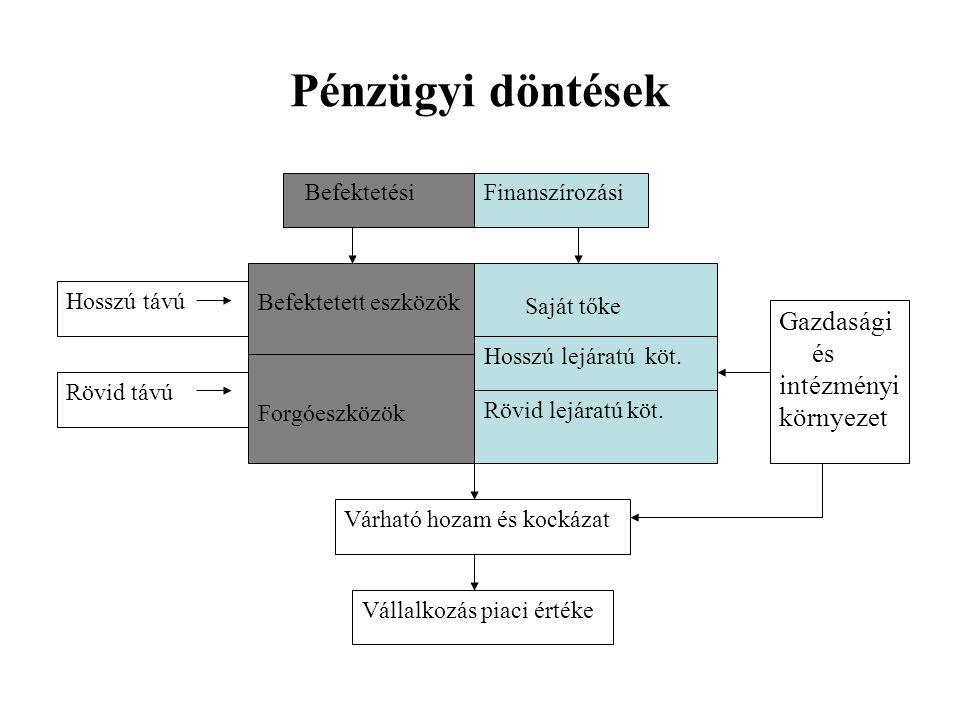 Pénzügyi döntések Gazdasági és intézményi környezet Finanszírozási