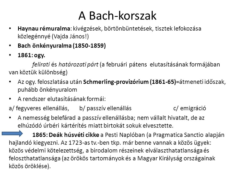 A Bach-korszak Haynau rémuralma: kivégzések, börtönbüntetések, tisztek lefokozása közlegénnyé (Vajda János!)
