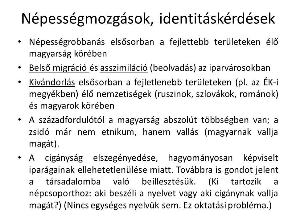 Népességmozgások, identitáskérdések