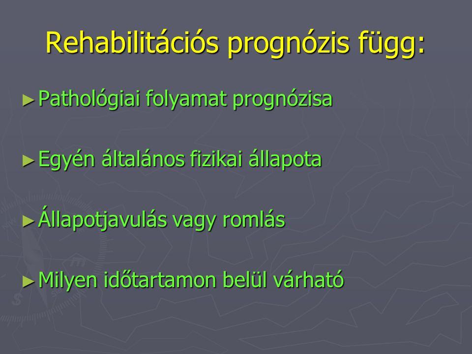 Rehabilitációs prognózis függ: