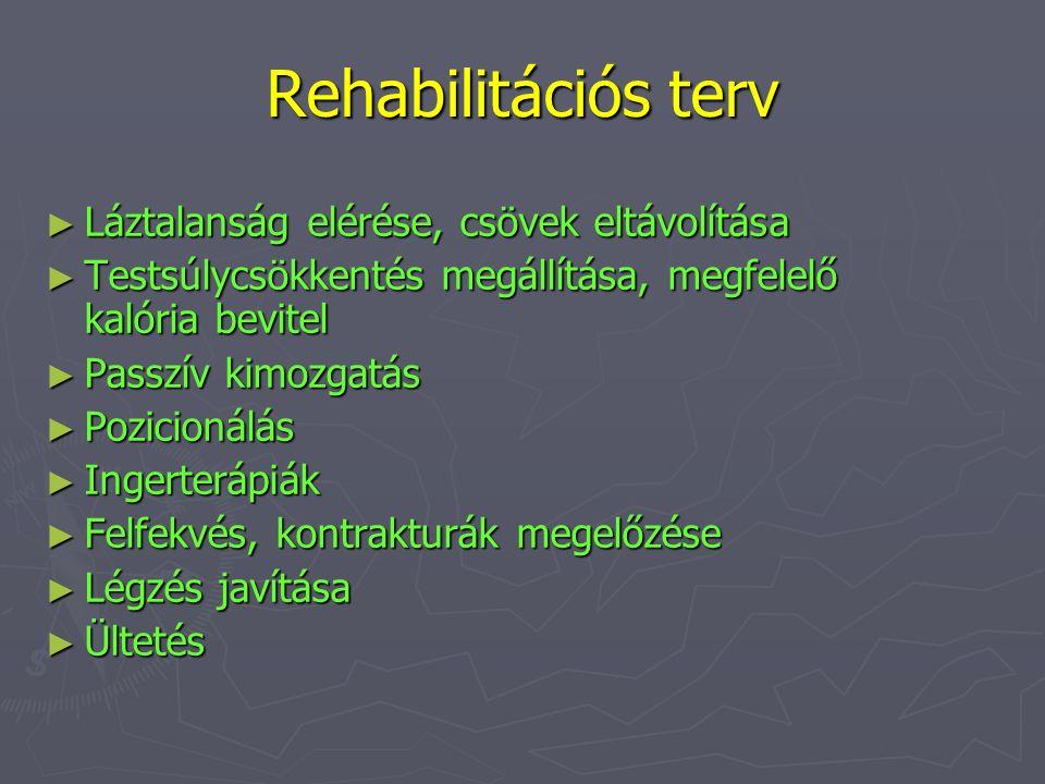 Rehabilitációs terv Láztalanság elérése, csövek eltávolítása