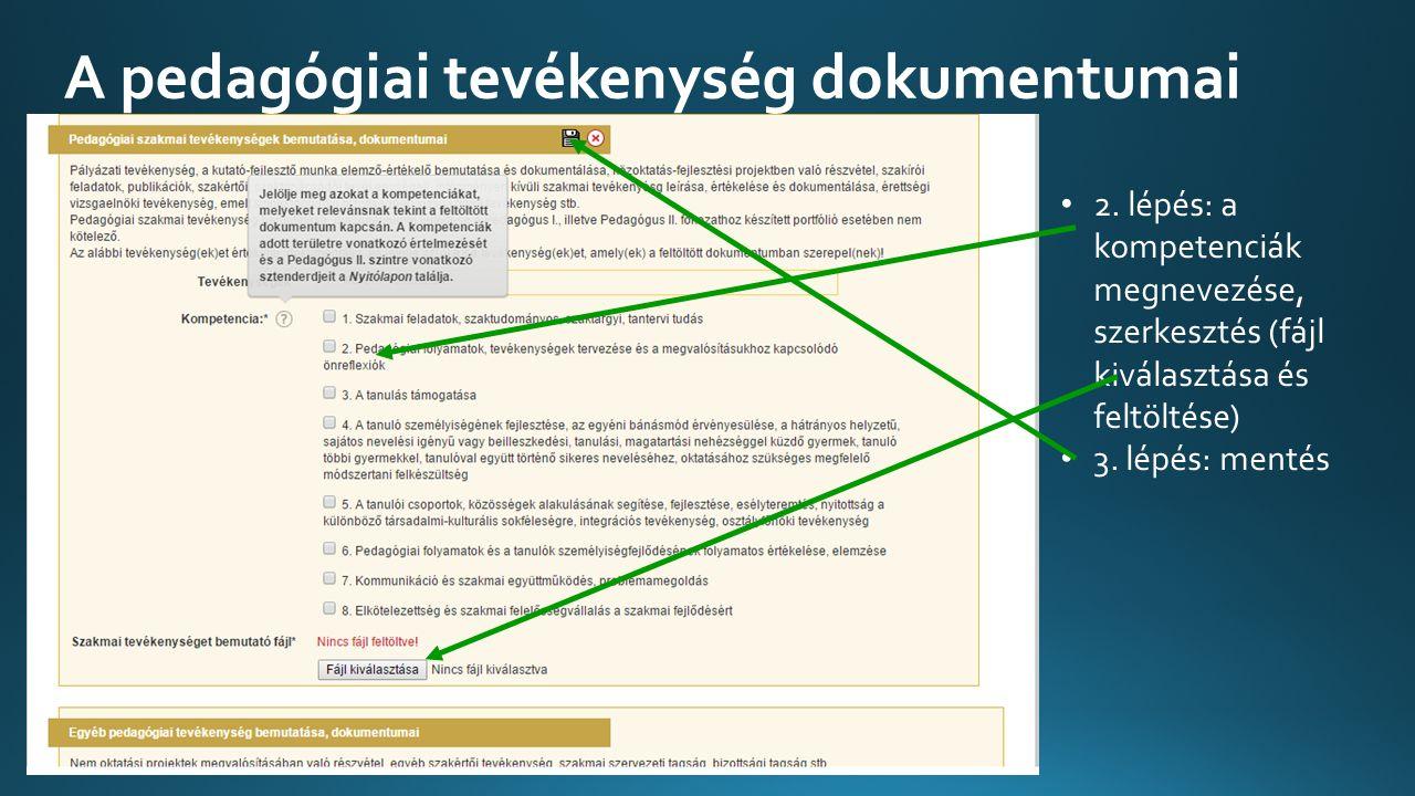 A pedagógiai tevékenység dokumentumai