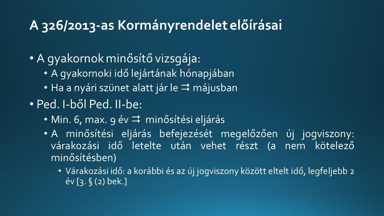 A 326/2013-as Kormányrendelet előírásai