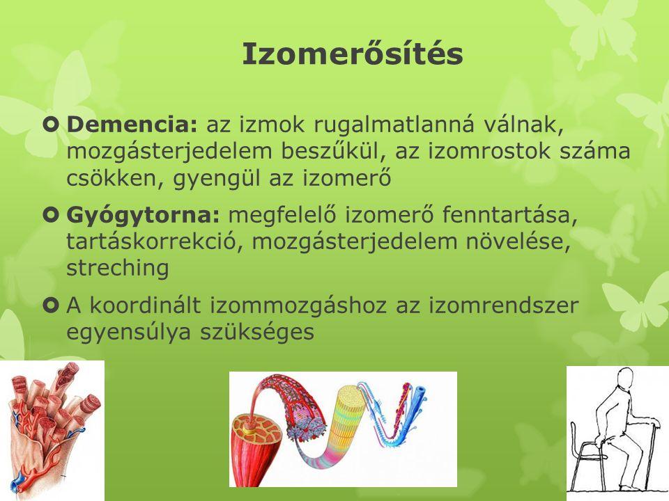 Izomerősítés Demencia: az izmok rugalmatlanná válnak, mozgásterjedelem beszűkül, az izomrostok száma csökken, gyengül az izomerő.