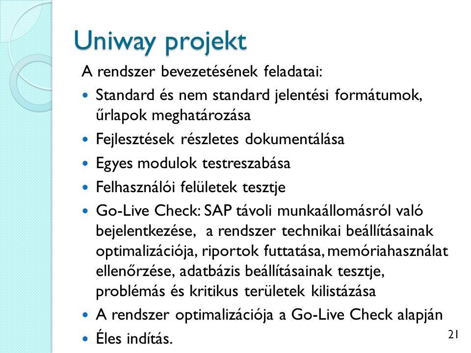 Uniway projekt A rendszer bevezetésének feladatai: