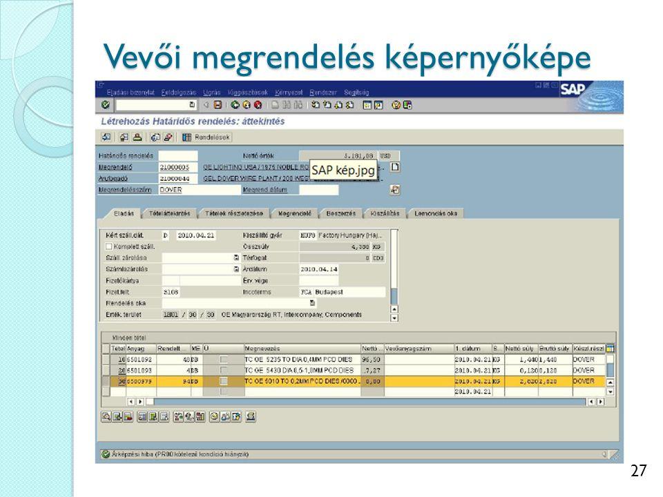 Vevői megrendelés képernyőképe