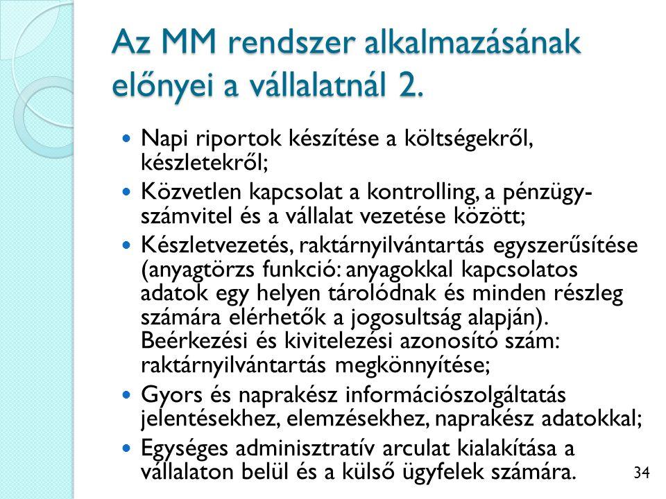 Az MM rendszer alkalmazásának előnyei a vállalatnál 2.