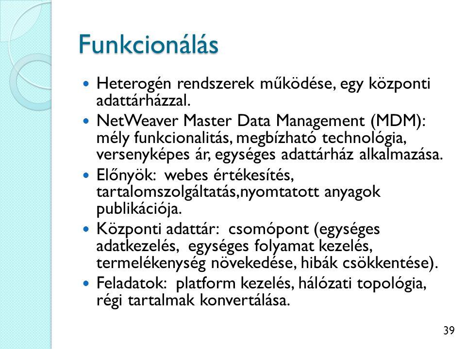 Funkcionálás Heterogén rendszerek működése, egy központi adattárházzal.