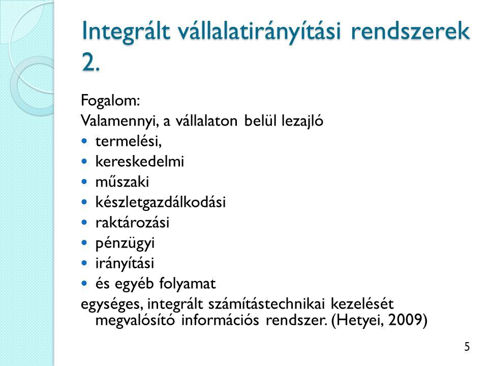 Integrált vállalatirányítási rendszerek 2.