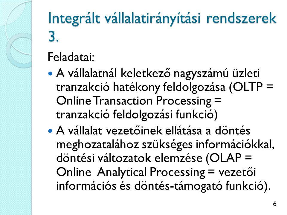 Integrált vállalatirányítási rendszerek 3.