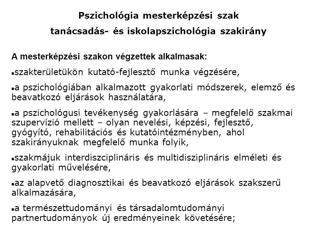 Pszichológia mesterképzési szak tanácsadás- és iskolapszichológia szakirány