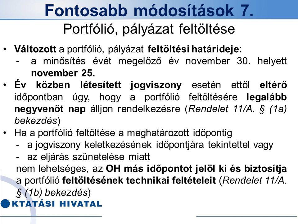 Fontosabb módosítások 7. Portfólió, pályázat feltöltése