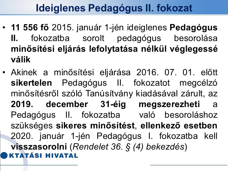 Ideiglenes Pedagógus II. fokozat