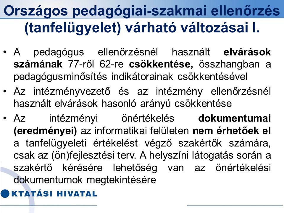Országos pedagógiai-szakmai ellenőrzés (tanfelügyelet) várható változásai I.