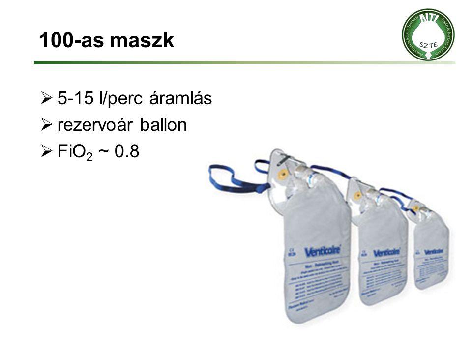 100-as maszk 5-15 l/perc áramlás rezervoár ballon FiO2 ~ 0.8