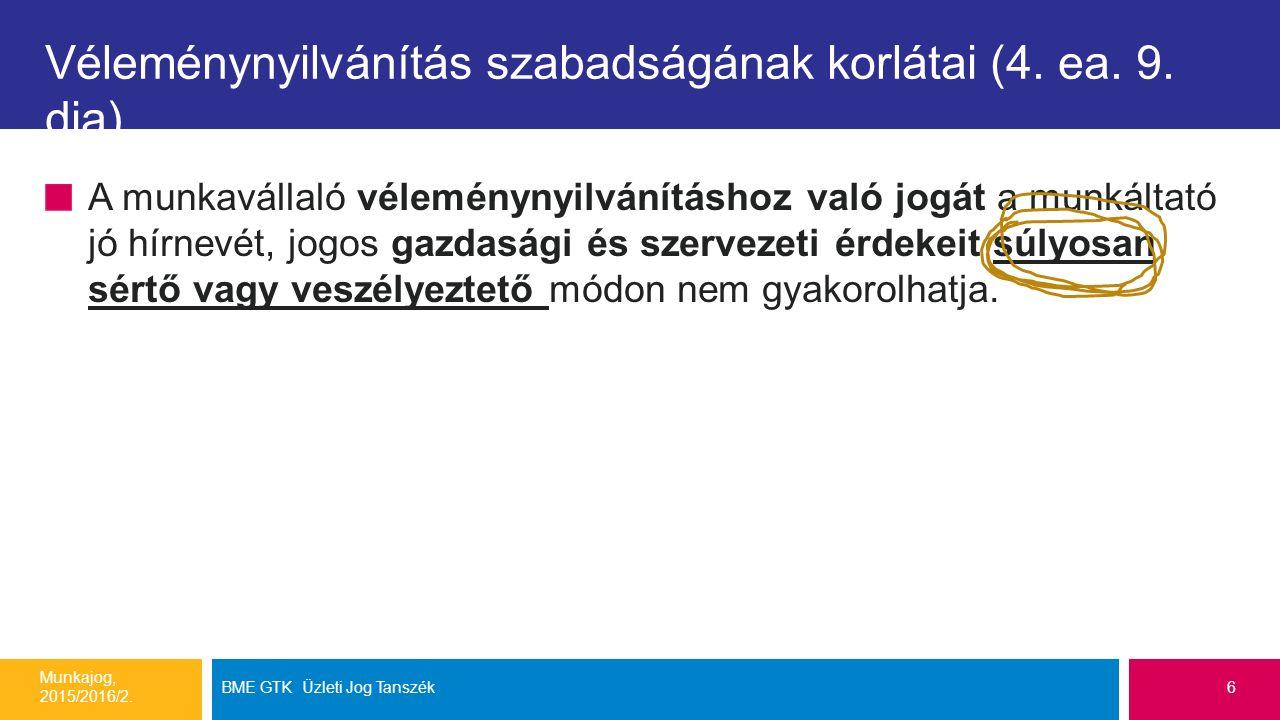 Véleménynyilvánítás szabadságának korlátai (4. ea. 9. dia)