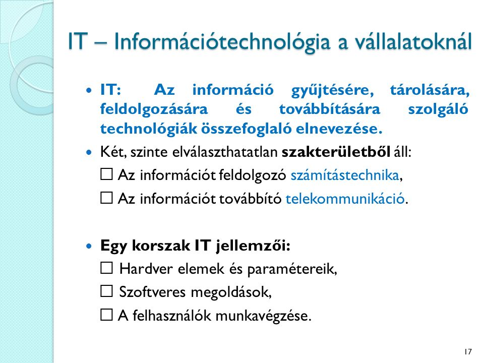 IT – Információtechnológia a vállalatoknál