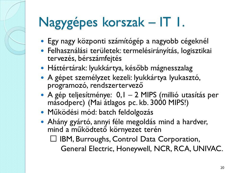 Nagygépes korszak – IT 1. Egy nagy központi számítógép a nagyobb cégeknél.