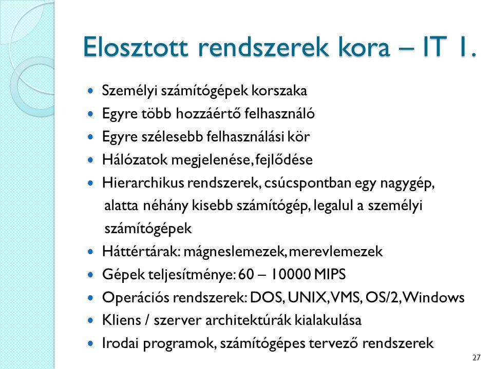 Elosztott rendszerek kora – IT 1.