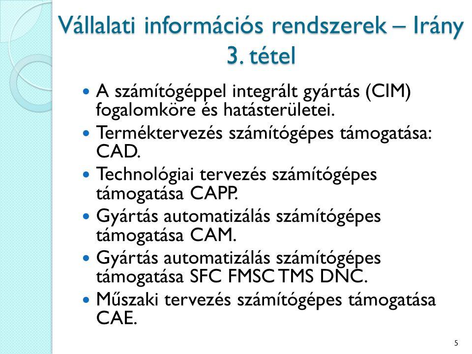 Vállalati információs rendszerek – Irány 3. tétel