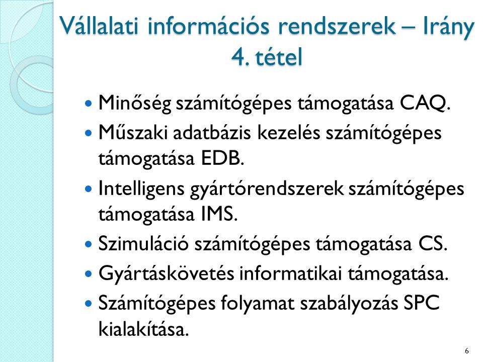 Vállalati információs rendszerek – Irány 4. tétel