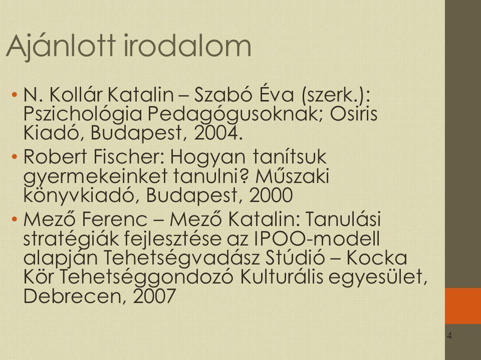 Ajánlott irodalom N. Kollár Katalin – Szabó Éva (szerk.): Pszichológia Pedagógusoknak; Osiris Kiadó, Budapest, 2004.